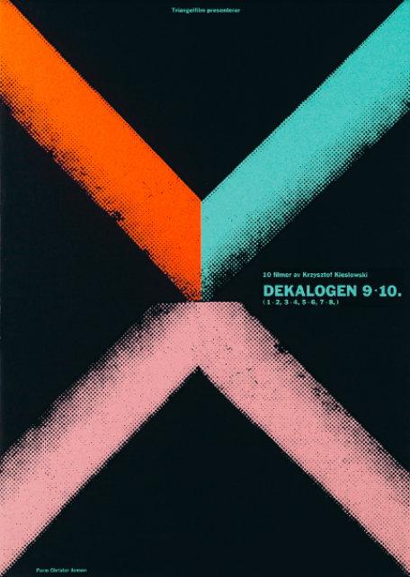 Filmaffisch till Dekalogen, en filmserie av Krzysztof Kieślowski, 1989, svensk distribution av Triangelfilm. Formgivning av Christer Jonson.
