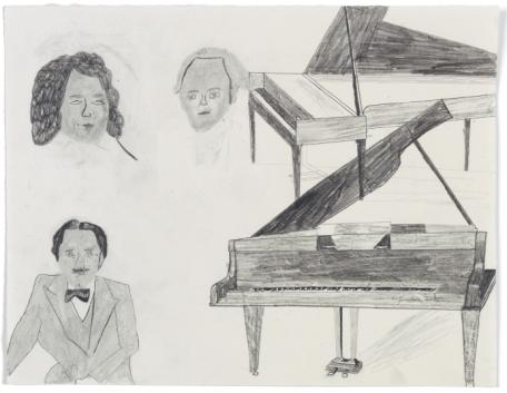 Doppelkonzerte, av Jockum Nordström, 2014. Blyerts på papper.